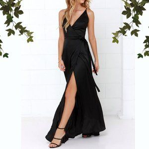 Lulu's Long Answer Satin Black Maxi Wrap Dress, S